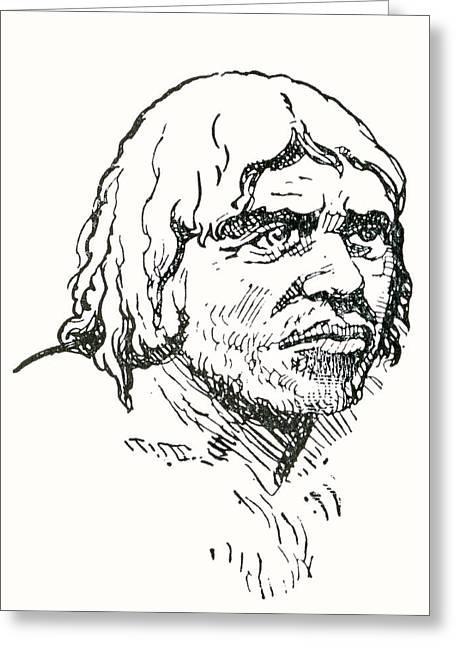 Period Drawings Greeting Cards - Neanderthal Or Neandertal Man. After Greeting Card by Ken Welsh
