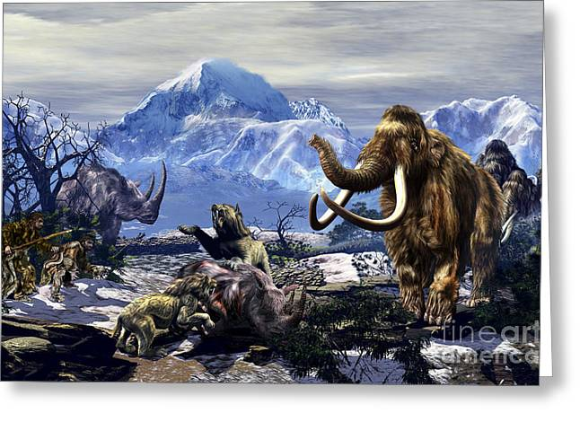 Man In The Wilderness Greeting Cards - Neanderthals Approach A Group Greeting Card by Kurt Miller