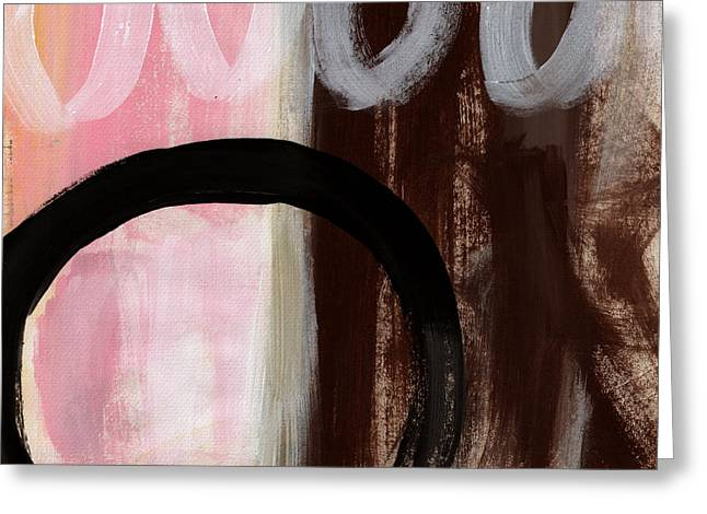 Brown Abstract Art Greeting Cards - Neapolitan 2 - Abstract Painting Greeting Card by Linda Woods