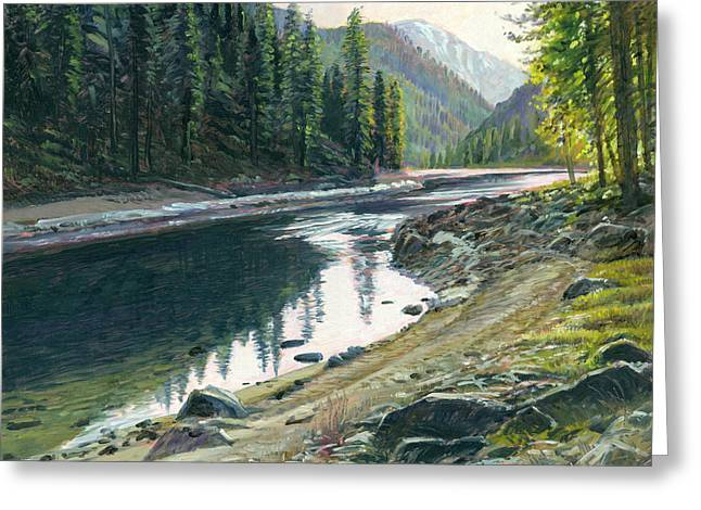 Salmon Paintings Greeting Cards - Near Horse Creek Greeting Card by Steve Spencer