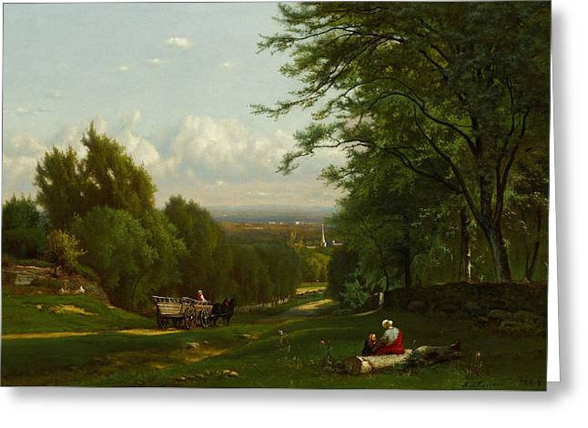 Near Leeds, New York Greeting Card by George Inness