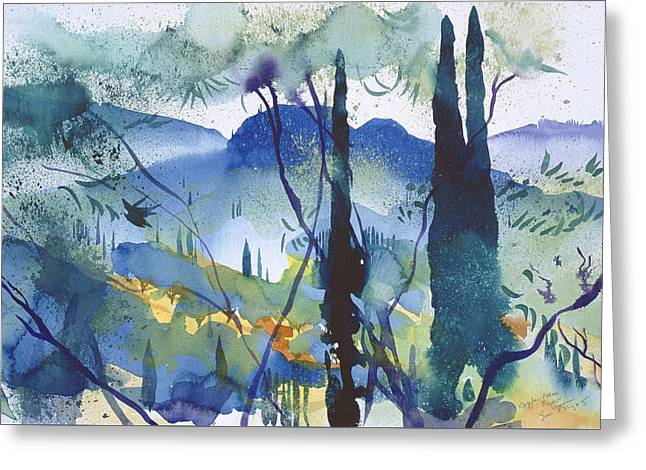 Mediterranean Landscape Drawings Greeting Cards - Near Pagoi Corfu Greeting Card by Simon Fletcher