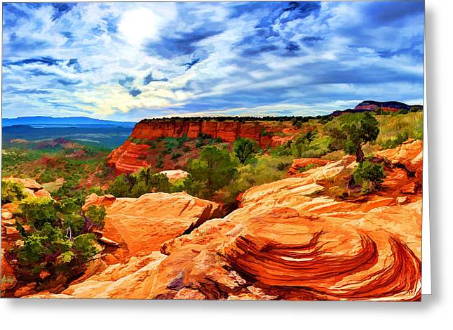 Beautiful Scenery Digital Art Greeting Cards - Near the Edge at Doe Mountain 2 Greeting Card by Bill Caldwell -        ABeautifulSky Photography