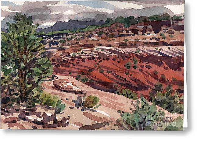 Canyons Paintings Greeting Cards - Near the Edge Greeting Card by Donald Maier