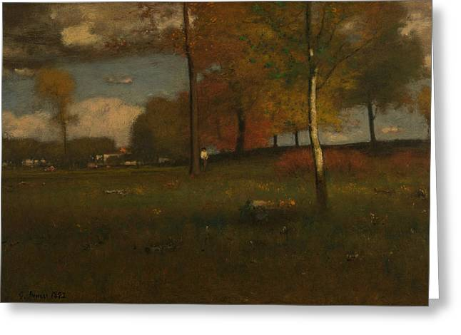 Near The Village, October Greeting Card by George Inness
