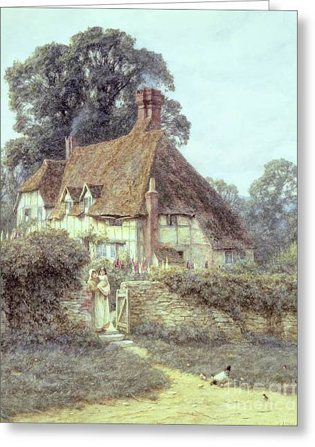 Half-timbered Greeting Cards - Near Witley Surrey Greeting Card by Helen Allingham
