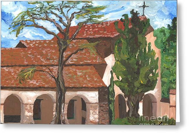 Vertigo Paintings Greeting Cards - Nearing the Fault San Juan Bautista Mission Greeting Card by Alia Outrey