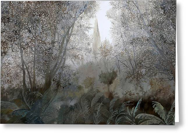Foggy. Mist Greeting Cards - Nebbia Nel Bosco Greeting Card by Guido Borelli