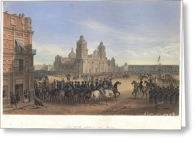 Nebel Mexican War 12 Scott In Mexico City Greeting Card by Celestial Images