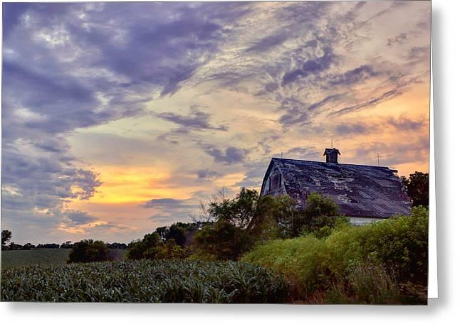 Old Barns Greeting Cards - Nebraska - Barn - Sunset Greeting Card by Nikolyn McDonald