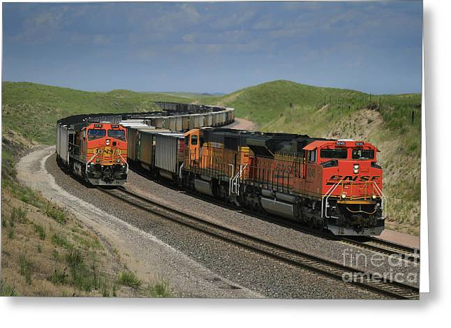 Burlington Northern Greeting Cards - Nebraska Coal Trains Greeting Card by Garry McMichael