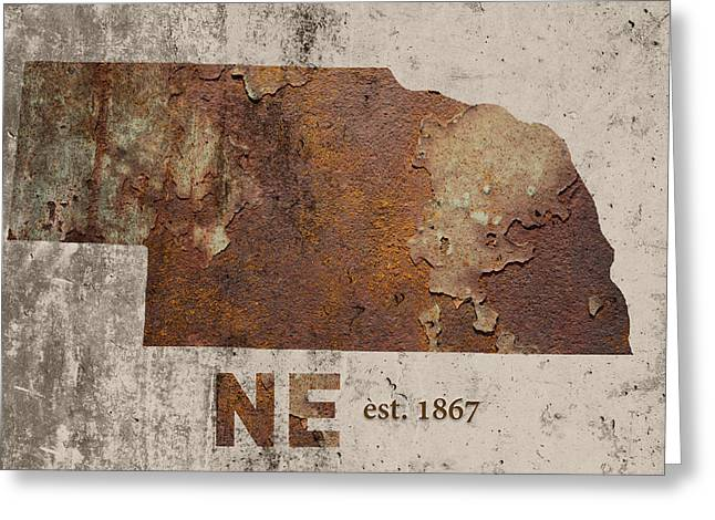 Nebraska State Map Industrial Rusted Metal On Cement Wall With Founding Date Series 039 Greeting Card by Design Turnpike