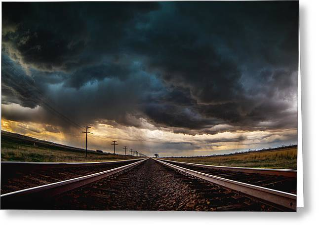 Storm Chasing Greeting Cards - Nebraska Storm Hwy 30 Greeting Card by Darren  White
