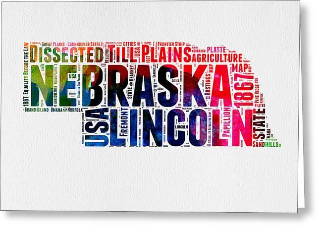 4th July Mixed Media Greeting Cards - Nebraska Watercolor Word Cloud  Greeting Card by Naxart Studio