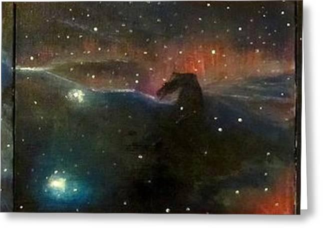 Nebula Triptych Greeting Card by Alizey Khan