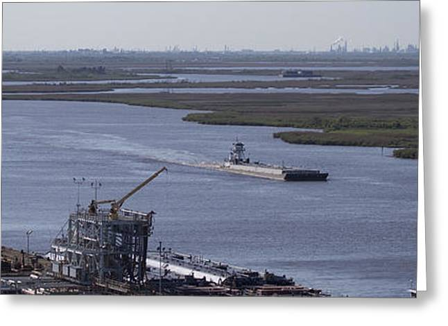 Petro Chemical Greeting Cards - Neches River Shipping Industry Greeting Card by D Wallace