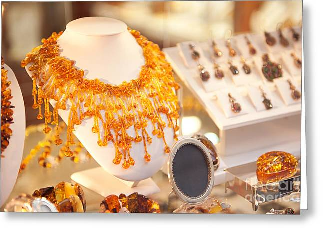 Necklace Of Amber Beads In Shop Greeting Card by Arletta Cwalina