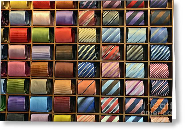 No Clothing Greeting Cards - Neckties displayed in store Greeting Card by Sami Sarkis
