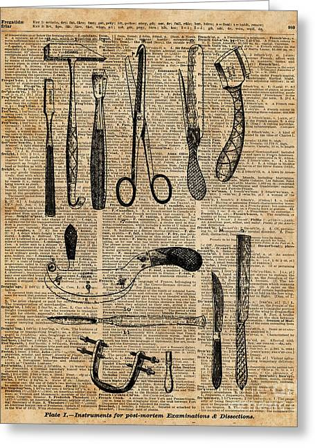 Necropsy Kits,anatomy Medical Instruments,surgery Decoration,dictionary Art,vintage Book Pag Greeting Card by Jacob Kuch