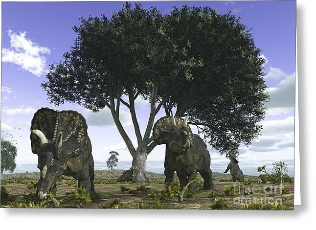 Creature Eating Greeting Cards - Nedoceratops Graze Beneath A Giant Oak Greeting Card by Walter Myers