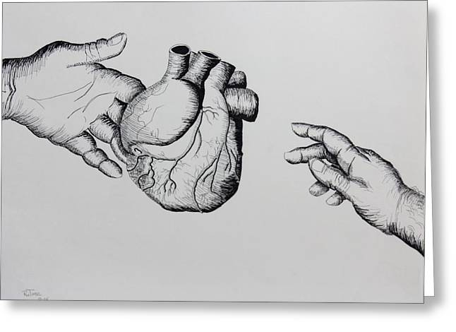 Pencil On Canvas Greeting Cards - Needed Heart Greeting Card by Ru Tover