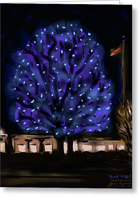 New England Winter Greeting Cards - Needhams Blue Tree Greeting Card by Jean Pacheco Ravinski