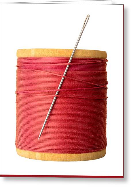 Needle And Thread Greeting Card by Jim Hughes