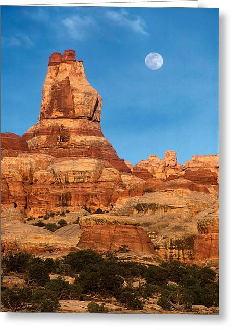 Moonrise Greeting Cards - Needles Moonrise at Sunset Greeting Card by Dan Norris
