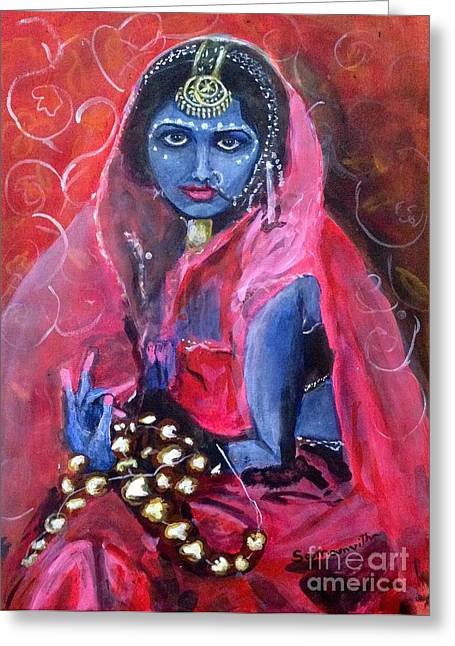 Hindu Goddess Greeting Cards - Neela Greeting Card by Samanvitha Rao