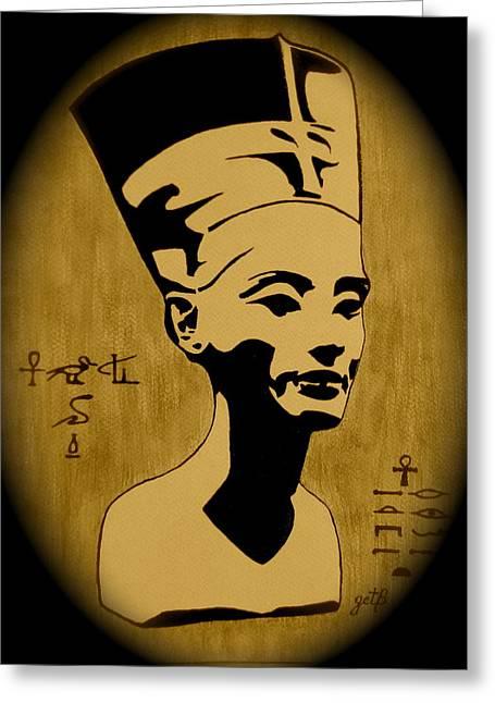 Pharaoh Greeting Cards - Nefertiti Egyptian Queen Greeting Card by Georgeta  Blanaru