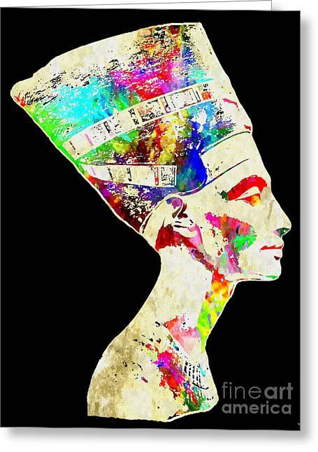 Recently Sold -  - Pop Mixed Media Greeting Cards - Nefertiti Grunge Greeting Card by Daniel Janda