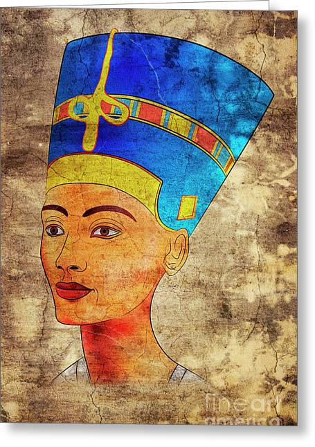 Pharaoh Drawings Greeting Cards - Nefertiti Greeting Card by Michal Boubin