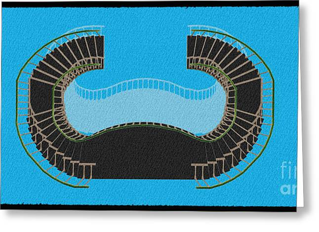 Negative Stair 45 Blue Background Architect Architecture Greeting Card by Pablo Franchi