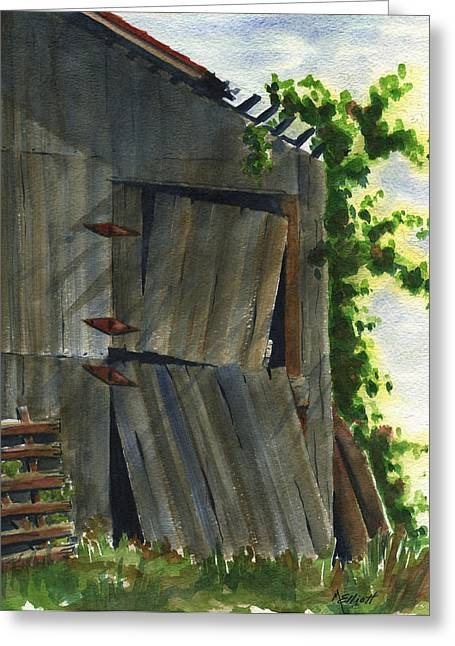 Old Relics Greeting Cards - Neighbor Dons Old Barn 3 Greeting Card by Marsha Elliott