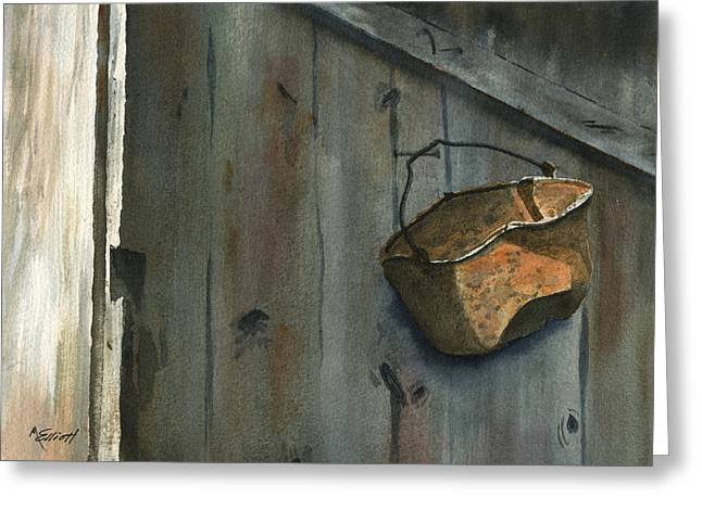 Neighbor Dons Rusted Kettle Greeting Card by Marsha Elliott