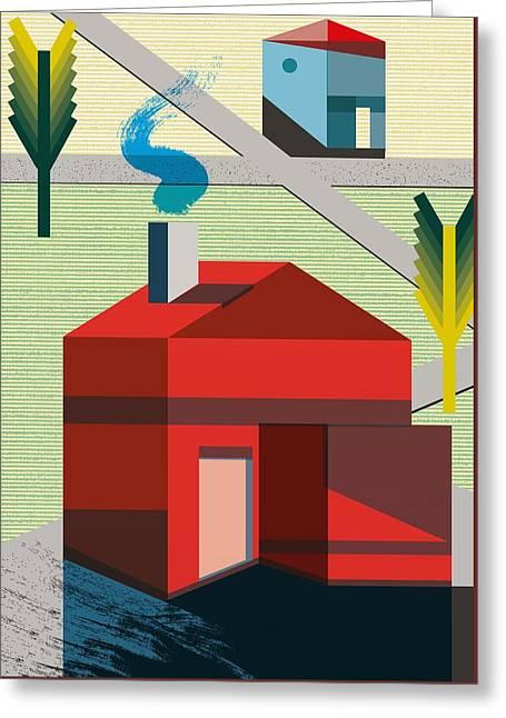 Neighborhood Greeting Card by Benjamin Gottwald