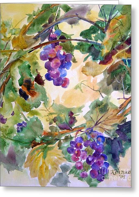 Grape Leaves Mixed Media Greeting Cards - Neighborhood Grapevine Greeting Card by Kathy Braud