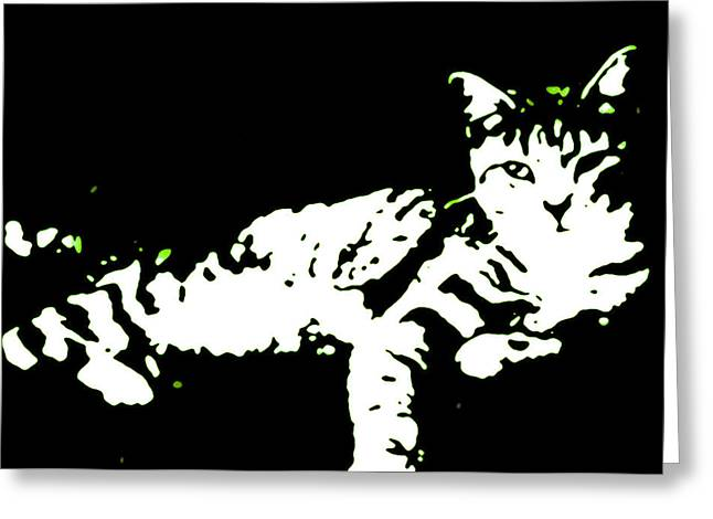 Kitten Prints Greeting Cards - Neighbors Gato in Green Greeting Card by Heather Joyce Morrill