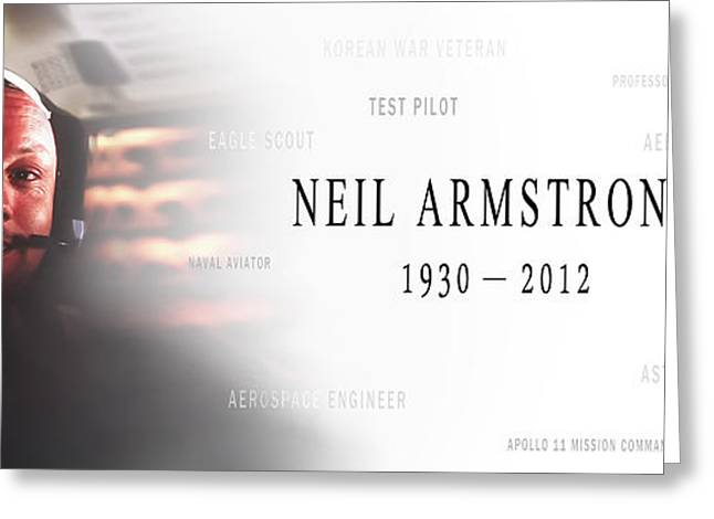 Astronauts Mixed Media Greeting Cards - Neil Armstrong Greeting Card by Daniel Hagerman