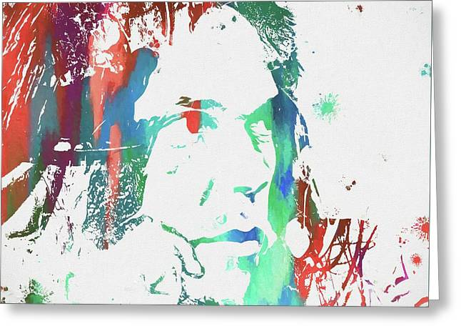 Neil Young Paint Splatter Greeting Card by Dan Sproul