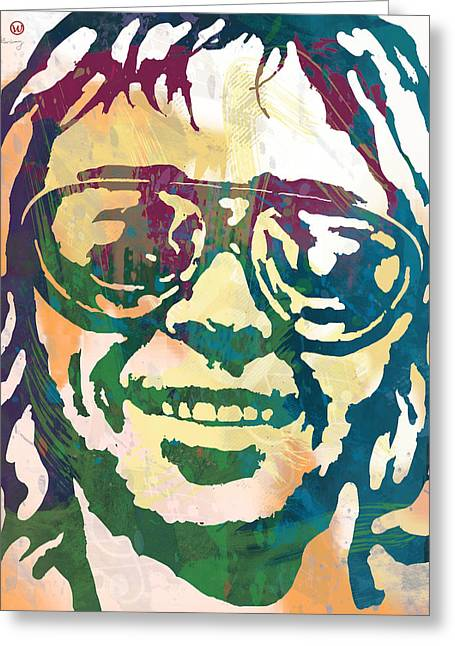 Neil Young Pop Stylised Art Poster Greeting Card by Kim Wang