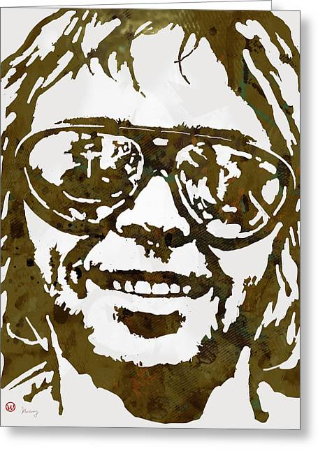 Neil Young Pop  Stylised Art Sketch Poster Greeting Card by Kim Wang
