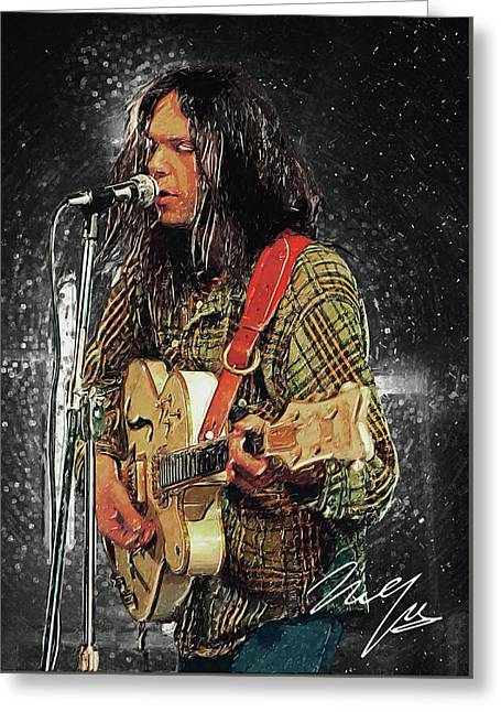 Neil Young Greeting Card by Taylan Apukovska