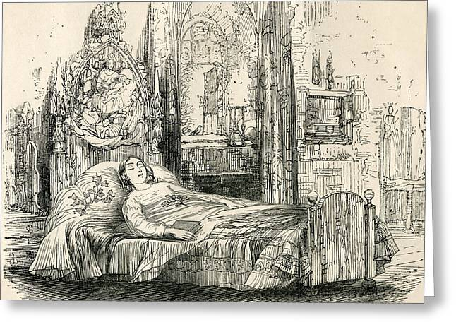 Trent Greeting Cards - Nell Trent On Her Deathbed. From The Greeting Card by Vintage Design Pics