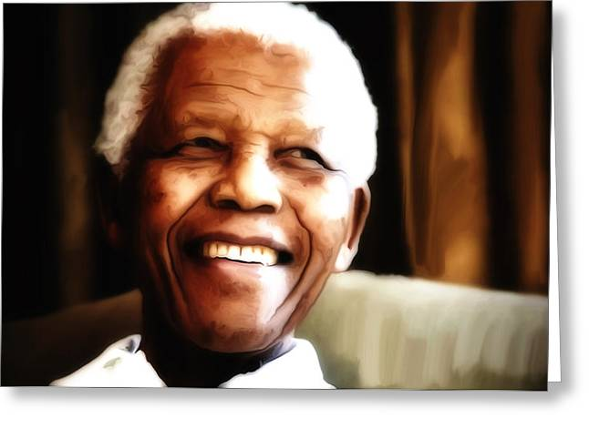 Civil Rights Greeting Cards - Nelson Mandela Greeting Card by Brian Reaves