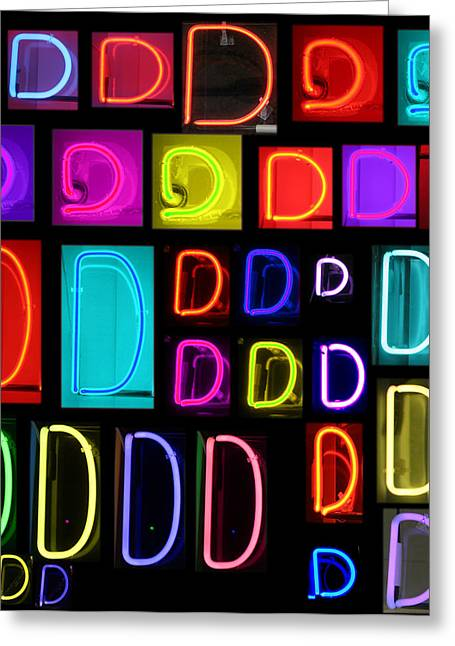 Letter J Greeting Cards - Neon alphabet series letter D Greeting Card by Michael Ledray