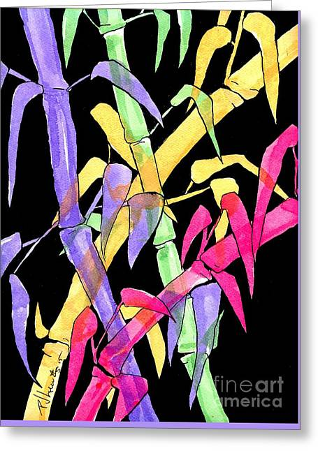 Neon Colors Greeting Cards - Neon Bamboo Greeting Card by P J Lewis