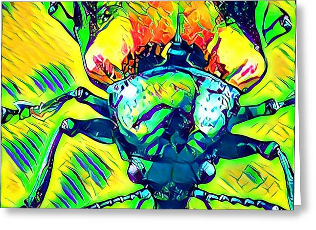 Neon Beetle Greeting Card by Amy Cicconi