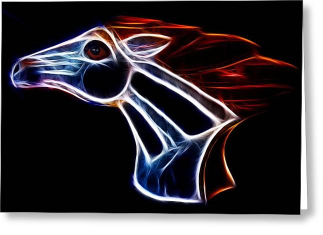 Broncos Mixed Media Greeting Cards - Neon Bronco II Greeting Card by Shane Bechler