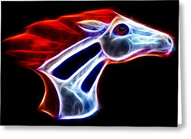 Broncos Mixed Media Greeting Cards - Neon Bronco Greeting Card by Shane Bechler